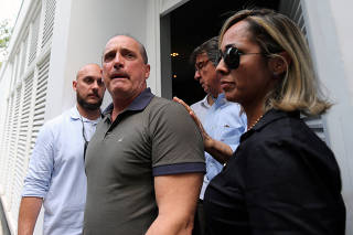 Congressman Onyx Lorenzoni, the future presidential chief of staff, leaves after a meeting with President-elect Jair Bolsonaro, in Rio de Janeiro