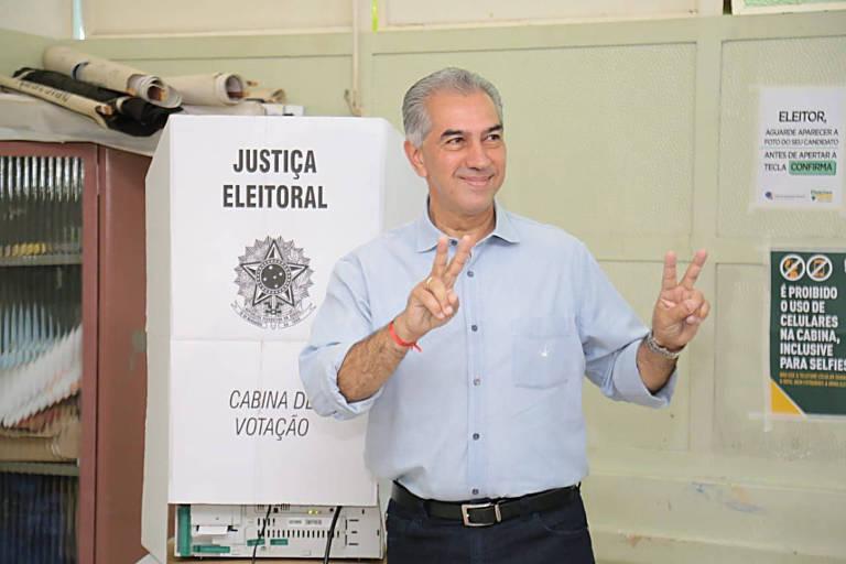 Candidato ao governo de Mato Grosso do Sul Reinaldo Azambuja, que foi reeleito