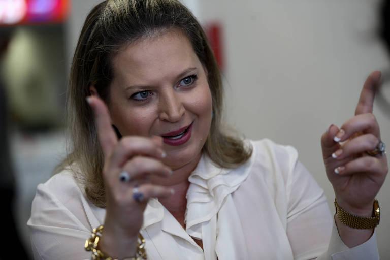 A deputada federal Joice Hasselmann (PSL-SP), durante entrevista à Folha