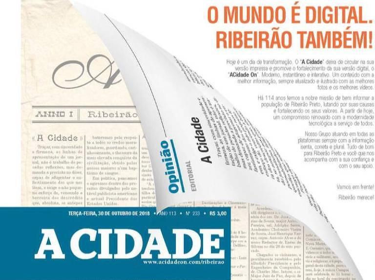 Edição digital do jornal A Cidade, de Ribeirão Preto
