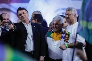 Bolsonaro, Marcos Pontes e major Olímpio em convenção do PSL
