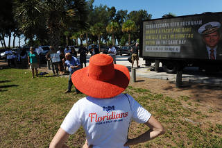 Floridians for a Fair Shake hosts a voter rally critical of Rep. Vern Buchanan (R-Fla.) in Bradenton, Fla.