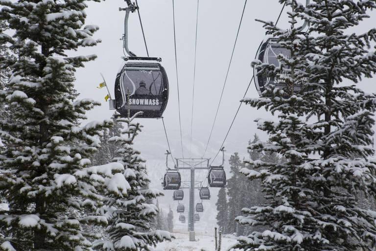Fios com teleféricos pendurados, em ambiente com árvores e neve