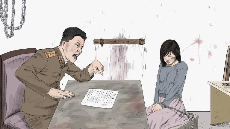 Ilustração da Human Rights Watch simula uma das cenas de abuso relatadas por mulheres norte-coreanas