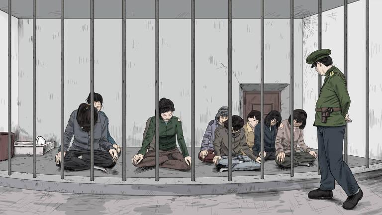 Ilustração mostra guarda vigiando prisão feminina na Coreia do Norte; estupros e outros abusos são frequentes, contam mulheres