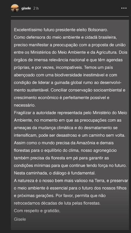 Manifesto de Gisele Bündchen a Bolsonaro