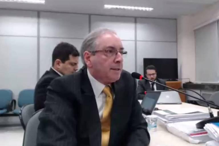 O ex-deputado Eduardo Cunha, durante audiência com Sergio Moro na quarta (31)