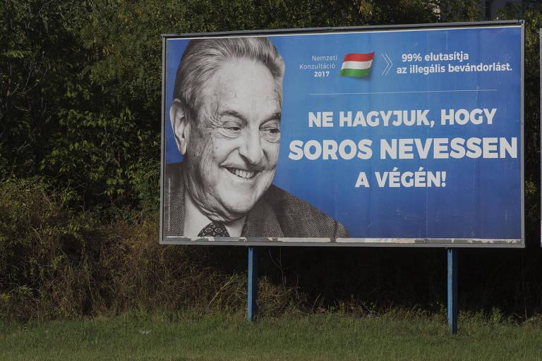 Outdoor em Busapeste da campanha que o governo húngaro fez contra George Soros
