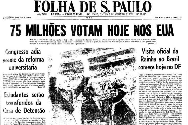Primeira Página da Folha de 5 de novembro de 1968 sobre a eleição nos Estados Unidos