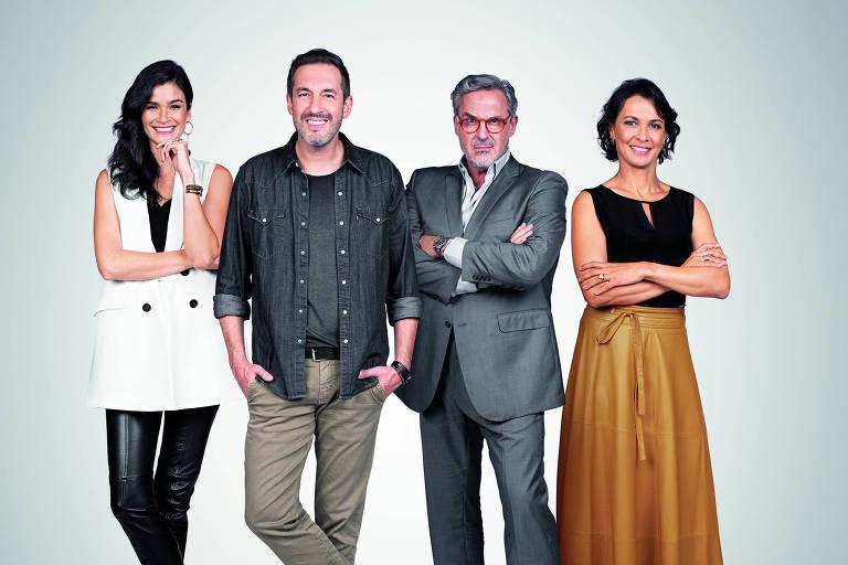 Da esq. para a dir.: a apresentadora do 1 por Todos, Caroline Ribeiro, o mentor da primeira temporada, Alê Costa, e os jurados Fabrizio Fasano e Mônica Burgos