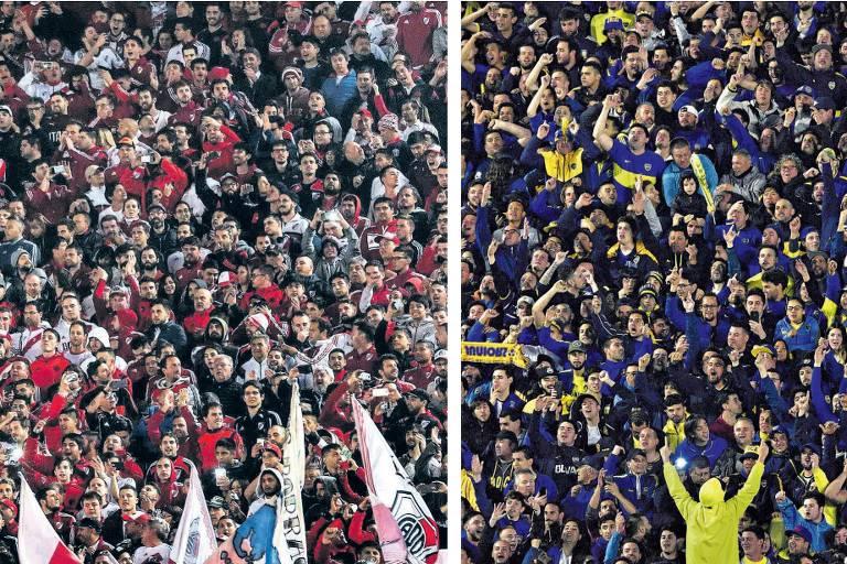 Torcidas do River Plate (à esq.) e do Boca Juniors no Monumental e em La Bombonera antes das partidas de ida das semifinais da Copa Libertadores