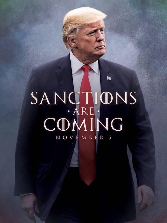 """""""Sanções estão chegando"""", diz imagem compartilhada Trump em sua conta no Twitter"""