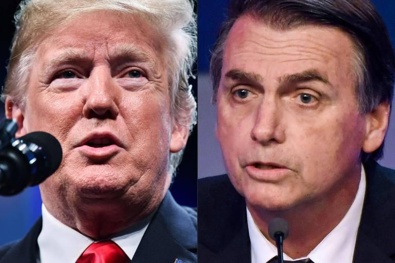 O presidente dos Estados Unidos, Donald Trump, e Jair Bolsonaro (PSL), presidente eleito no Brasil, que fez campanha segundo os passos do americano
