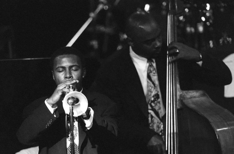 O trompetista Roy Hargrove durante apresentação no Free Jazz Festival em São Paulo, em 1995