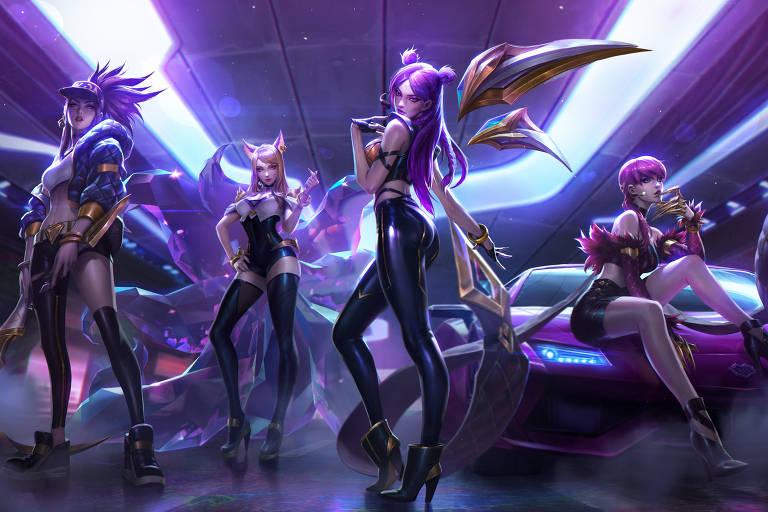 Grupo de k-pop virtual KDA, criado pela Riot Games, desenvolvedora do jogo League of Legends