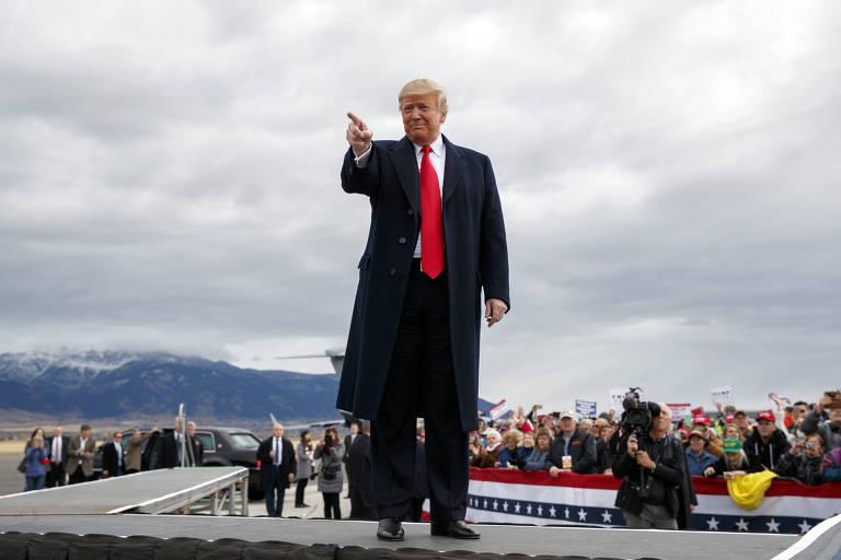 O presidente Donald Trump durante evento na cidade de Belgrade, no estado de Montana