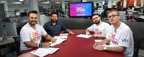 Consultores Pedagógicos do SAS Plataforma de Educação, Fábio Braz (Geografia), Luiz Carlos Rodrigues (História) e Vinicius Beltrão (Português/Redação).