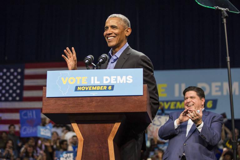 O ex-presidente Barack Obama durante comício em Chicago em apio ao candidato democrata ao governo de Illinois, J.B. Pritzker