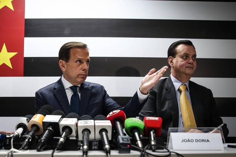 O governador João Doria e seu vice Rodrigo Garcia (esq.) anunciam Kassab como secretário