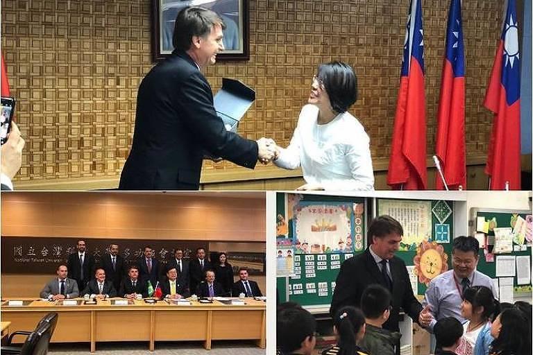 Bolsonaro cumprimenta a presidente de Taiwan, Tsai Ing-wen (no alto), durante visita à ilha de Taiwan em março de 2018 em foto publicada em sua conta no Instagram