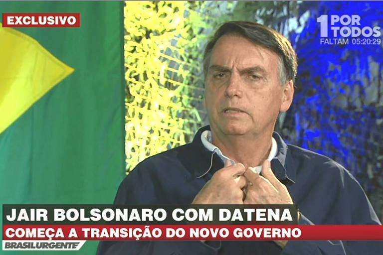 O presidente eleito Jair Messias Bolsonaro; ele deu entrevista ao apresentador José Luiz Datena