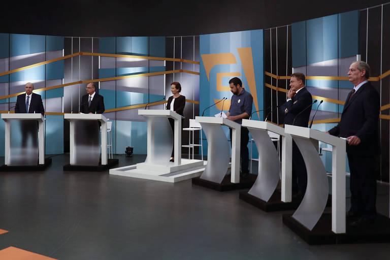 Candidatos à Presidência durante debate da TV Gazeta, em agosto