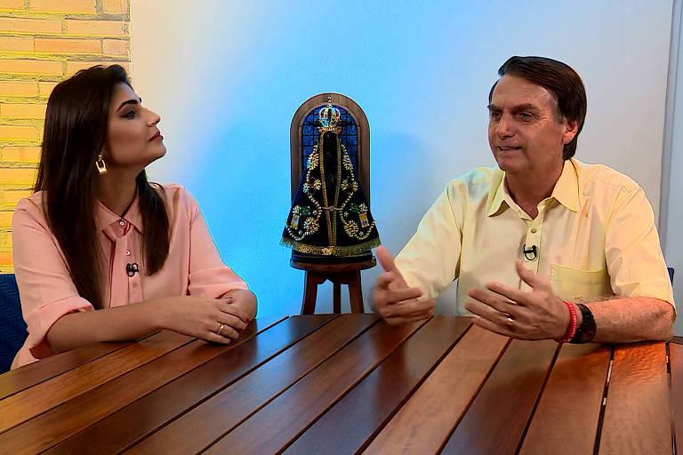 O presidente eleito Jair Messias Bolsonaro; ele concedeu uma entrevista à TV Aparecida