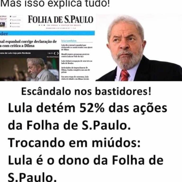 Segundo boato, Lula teria 52% das ações do jornal