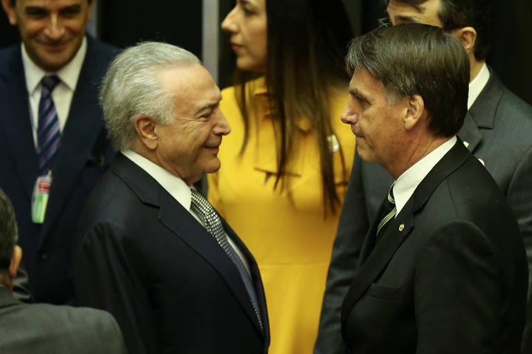O presidente eleito Jair Bolsonaro (PSL), ao lado do presidente MIchel Temer