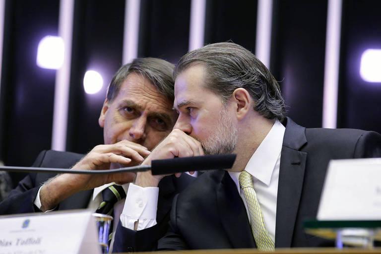 Plenário da Câmara dos Deputados durante sessão solene do Congresso Nacional para comemorar os 30 anos da Constituição Cidadã. Presidente eleito Jair Bolsonaro e Dias Tofolli