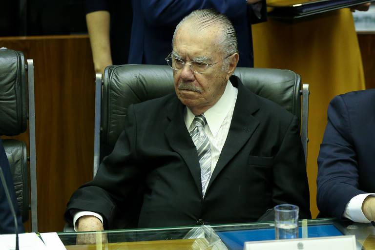 O ex-presidente e ex-senador José Sarney, em sessão do Congresso Nacional em homenagem aos 30 anos da Promulgação da Constituição Federal de 1988