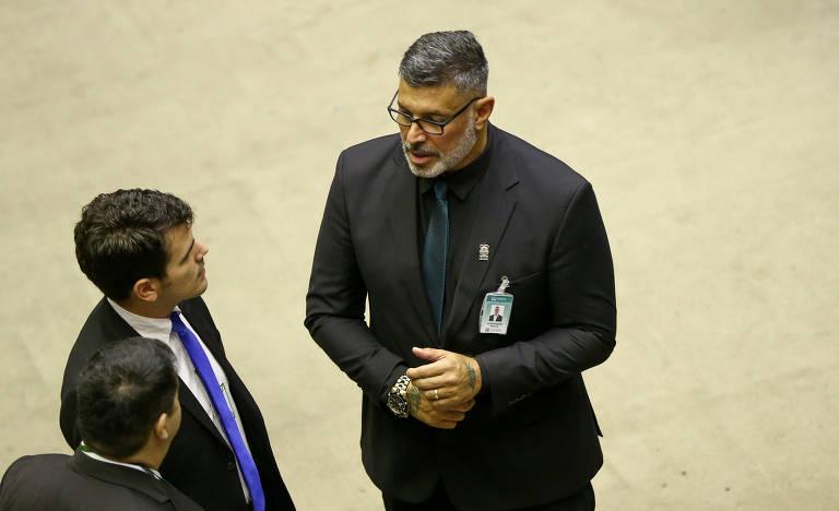 Alexandre Frota (PSL-SP) durante sessão em comemoração aos 30 anos da Constituição