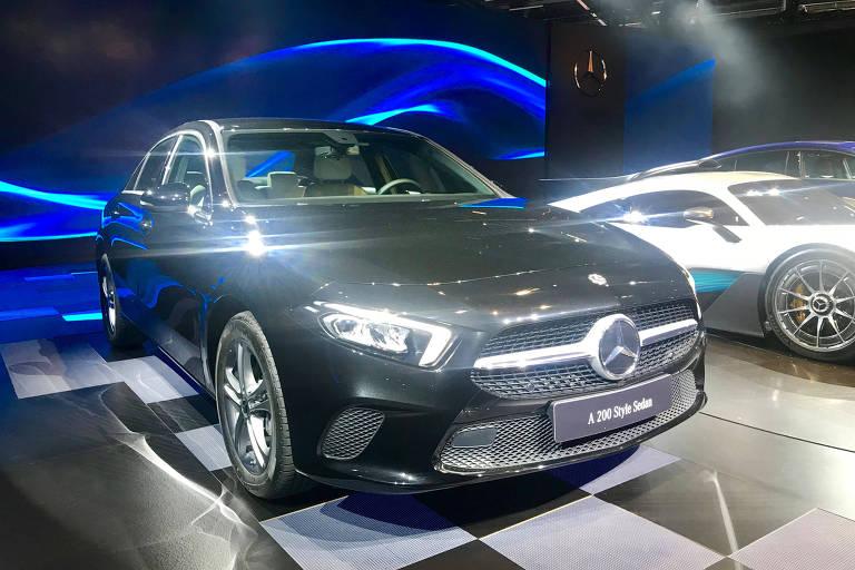 Versão sedã do novo Mercedes Classe A é uma das principais atrações da marca no Salão do Automóvel de SP). ( Foto: Eduardo Sodré / Folhapress). ***EXCLUSIVO***