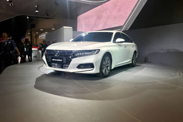 Sedã Honda Accord no Salão de SP; modelo retorna ao mercado com motor 2.0 turbo e sistema autônomo de frenagem ). ( Foto: Eduardo Sodré / Folhapress). ***EXCLUSIVO***