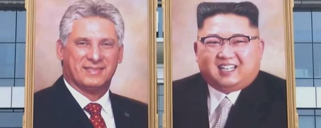 Retratos de Kim Jong-un e de Miguel Díaz-Canel exibidos durante encontro em Pyongyang em 4.nov.2018