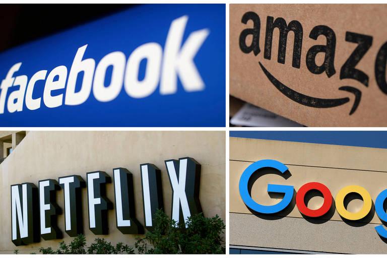 Montagem com logotipos das gigantes da tecnologia Facebook, Amazon, Neflix e Google