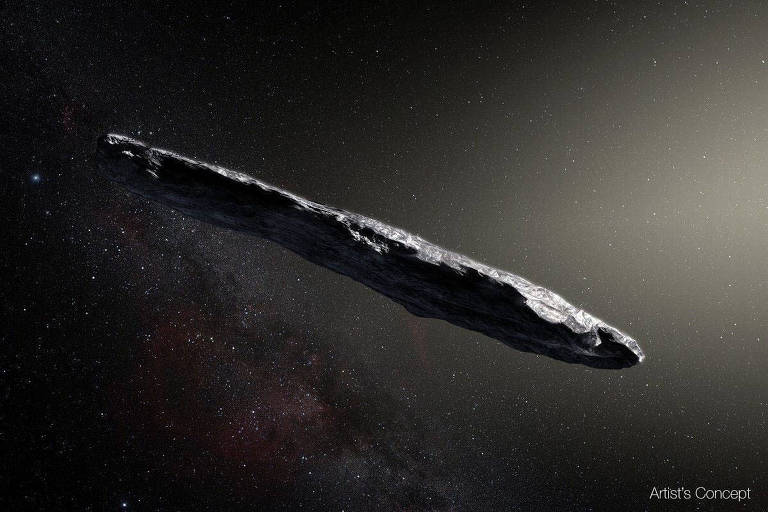 Concepção artística do cometa 'Oumuamua, que parece um charuto