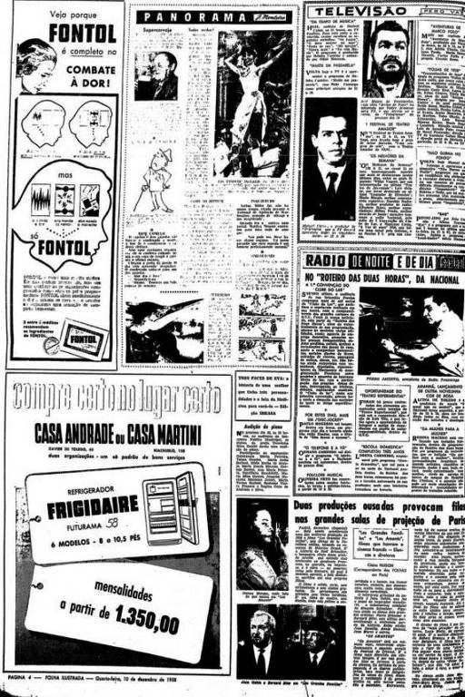 Primeira Ilustrada, com coluna de TV e anúncio de remédio