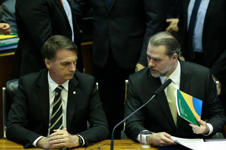 O presidente eleito Jair Bolsonaro (PSL) ao lado do ministro Dias Toffoli (STF)