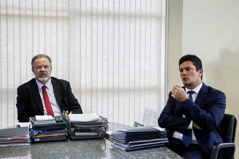 O juiz Sérgio Moro durante reunião com o ministro da Segurança Pública, Raul Jungmann