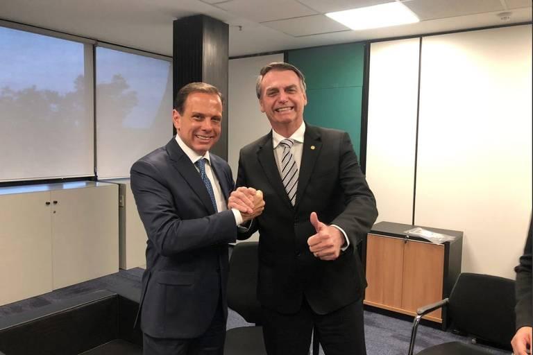 Governador João Doria e o Presidente Jair Messias Bolsonaro em reunião em Brasília