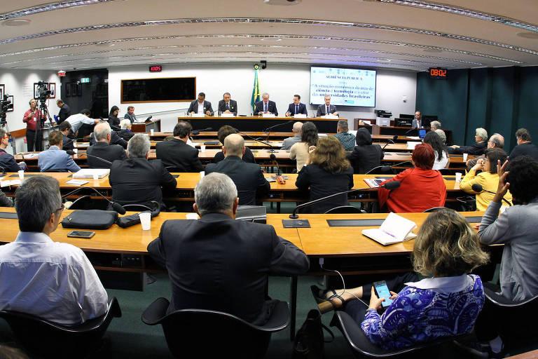 Sessão da Comissão de Ciência e Tecnologia, Comunicação e Informática da Câmara dos Deputados na qual foi discutido o financiamento da ciência e das instituições federais de ensino