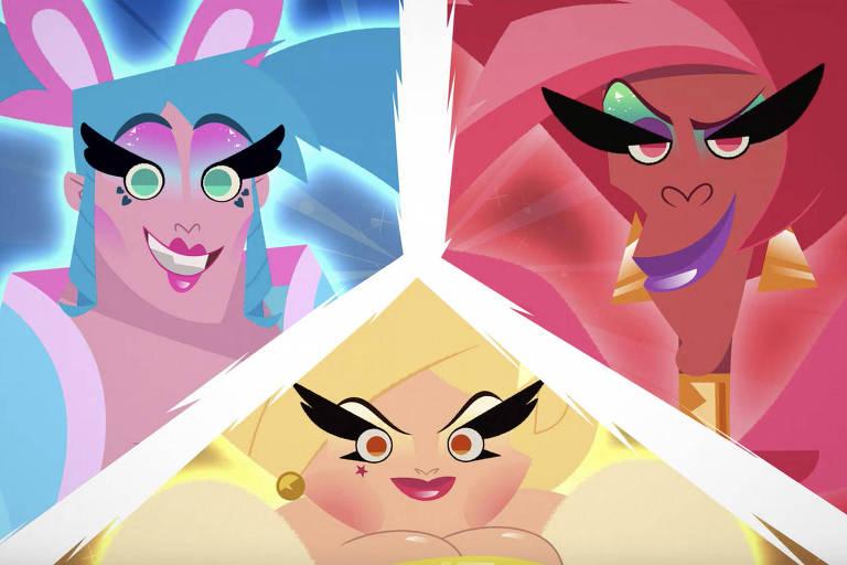 Super Drags, série da Netflix: desenho com três drag queens.