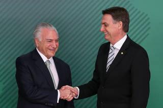 Bolsonaro se encontra com Temer no Palácio do Planalto, DF