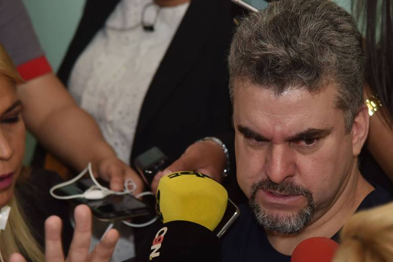 Marcelo Fernando Pinheiro Veiga, conhecido como 'Marcelo Piloto' em coletiva à imprensa paraguaia