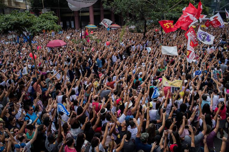 Ato de servidores contra reforma da previdência paulistana