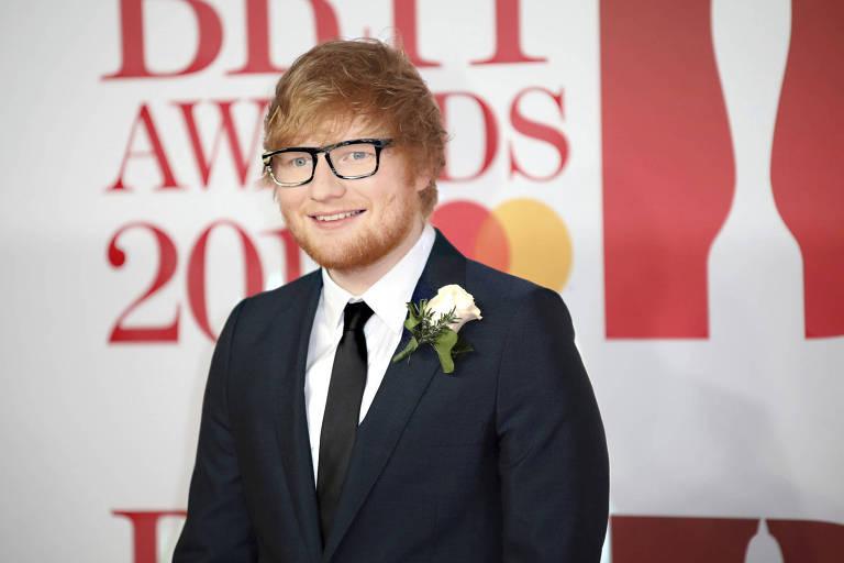 O cantor britânico Ed Sheeran durante o Brit Awards 2018, em Londres