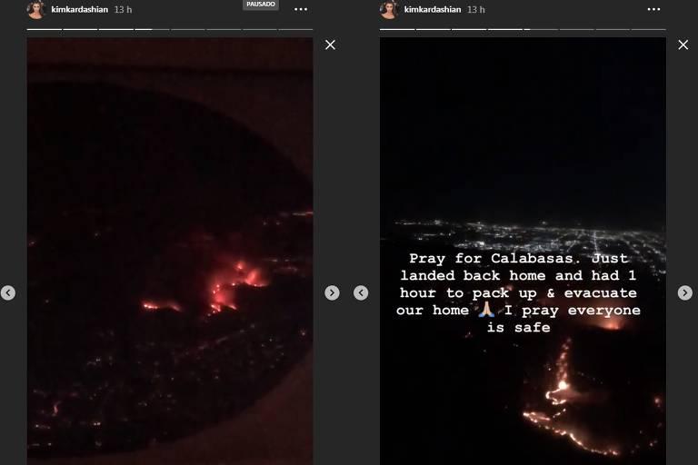 Kim Kardashian posta imagens de incêndio na Califórnia