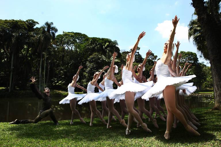 Elenco da São Paulo Companhia da Dança posa para fotos de divulgação do espetáculo Lago dos Cisnes, no Jardim Botânico em São Paulo.