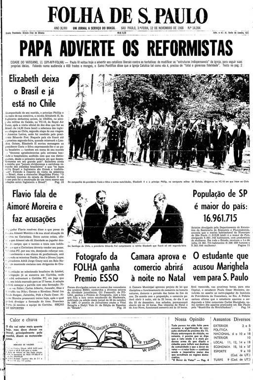 Primeira Página da Folha de  12 de novembro de 1968